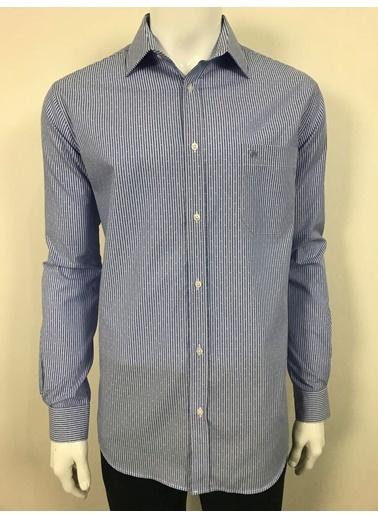 Abbate Klasık Yaka Çızgılı Regularfıt Ceplı Gömlek Mavi